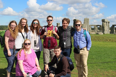 FHU students in front of Stonehenge