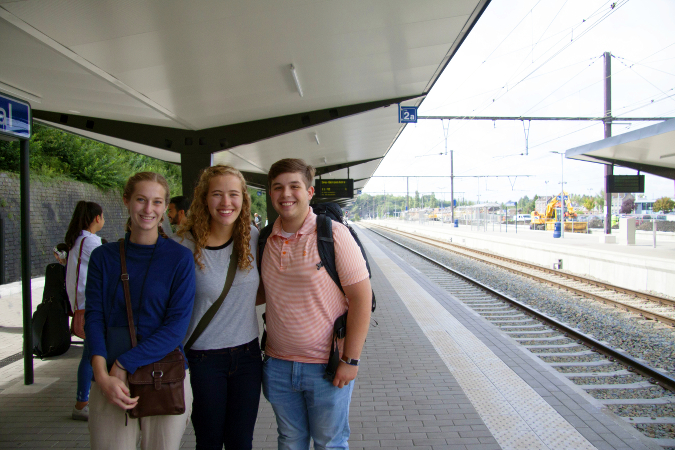 Students waiting for their train