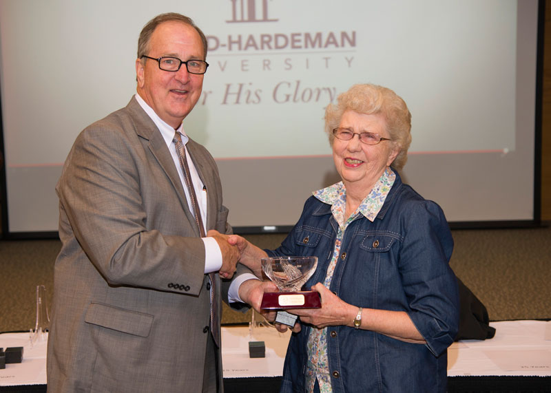 President Joe Wiley recognizes Doris Maness for 45 years of service