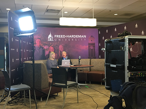 President David Shannon and Sutherland Shrader, senior communications major with an emphasis in public relations, host the inaugural broadcast of FHU Live.