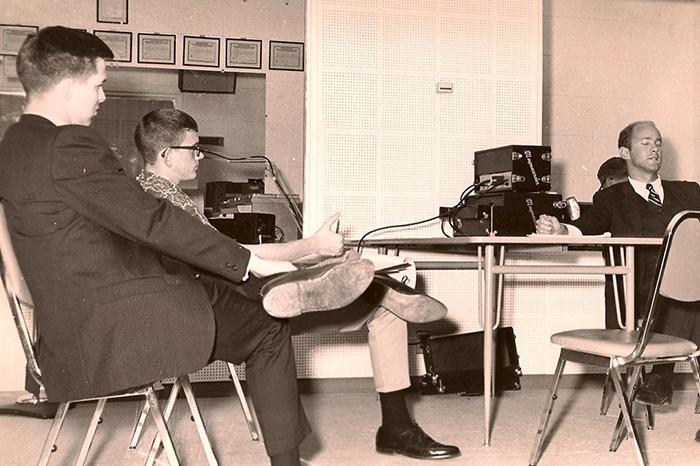 John Hall, Bill Brant Interviewing UPI's Craig Spence -68