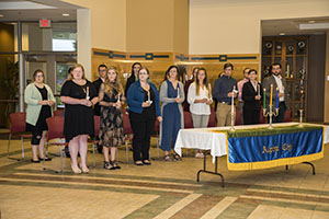 FHU inducts students into Alpha Chi, a national honorary society for juniors and seniors.