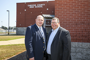 Chester County High School principal Ricky Catlett and FHU provost C.J. Vires discuss a new program initiated this year at CCHS to prepare future teachers.