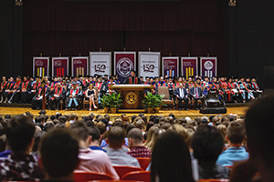 President David R. Shannon speaks at Tolling of the Bell, launching FHU's record-breaking, 150th academic year.