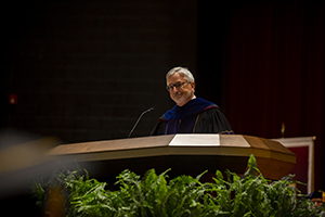 Dr. Phil Oldham, Tennessee Tech president, addresses Freed-Hardeman University graduates Saturday morning, May 18, in Loyd Auditorium.