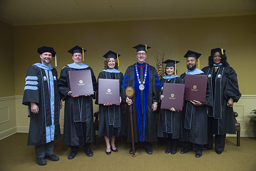 Doctoral Candidates (December 2015) with FHU President, Dr. Joe Wiley