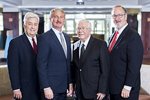 Current president David Shannon, along with three former FHU presidents.