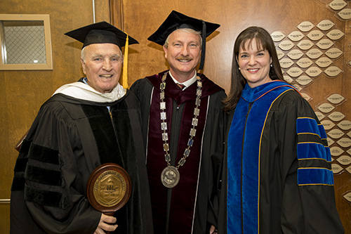 Representing the faculty, Dr. Roy Sharp meets with FHU President David R. Shannon and Tennessee Commissioner of Education Candice McQueen prior to commencement exercises.