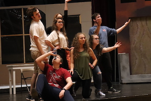 """The cast of """"Little Shop of Horrors"""" rehearses for a November return of live theatre to Freed-Hardeman University."""