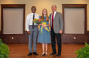 FHU President congratulates Mr. and Miss FHU Kenneth Moore and Katie Morris.