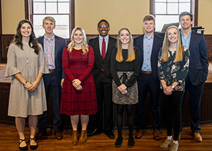 Finalists for Mr. and Miss FHU 2020 are the following seniors: (L to R) Amy Gingerich, Logan Campbell, McKenna Shrader, Kenneth Moore, Katie Morris, Caleb Johnson, Claire Morris and Gage Gregory.