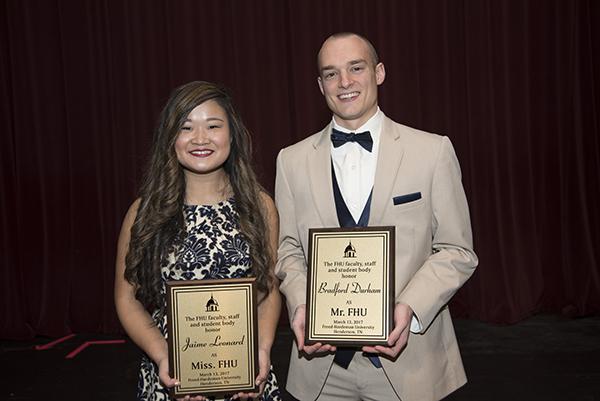 Jaime Leonard and Bradford Durham, winners of Miss. and Mr. FHU