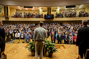 Chapel, a daily feature of life at Freed-Hardeman University, will be offered online. Pictured is a chapel assembly during Lectureship.