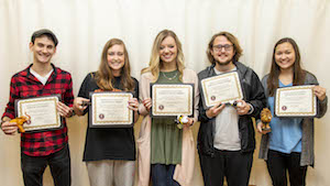 FHU recently presented awards to five FHU nursing seniors. They are: (L to R) Alexander White (Spirit of Job), Paige Watson (Nightingale), Emma Butt (Servant