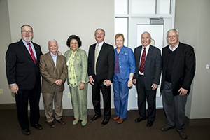 FHU President Dave Shannon is flanked by six retiring members of the FHU faculty: Dr. Joe Wiley, Mark Crowell, Dr. Elizabeth Saunders, Shannon, Dr. Becky Cargile, Dr. Roy Sharp and Dr. Gene Reeves.