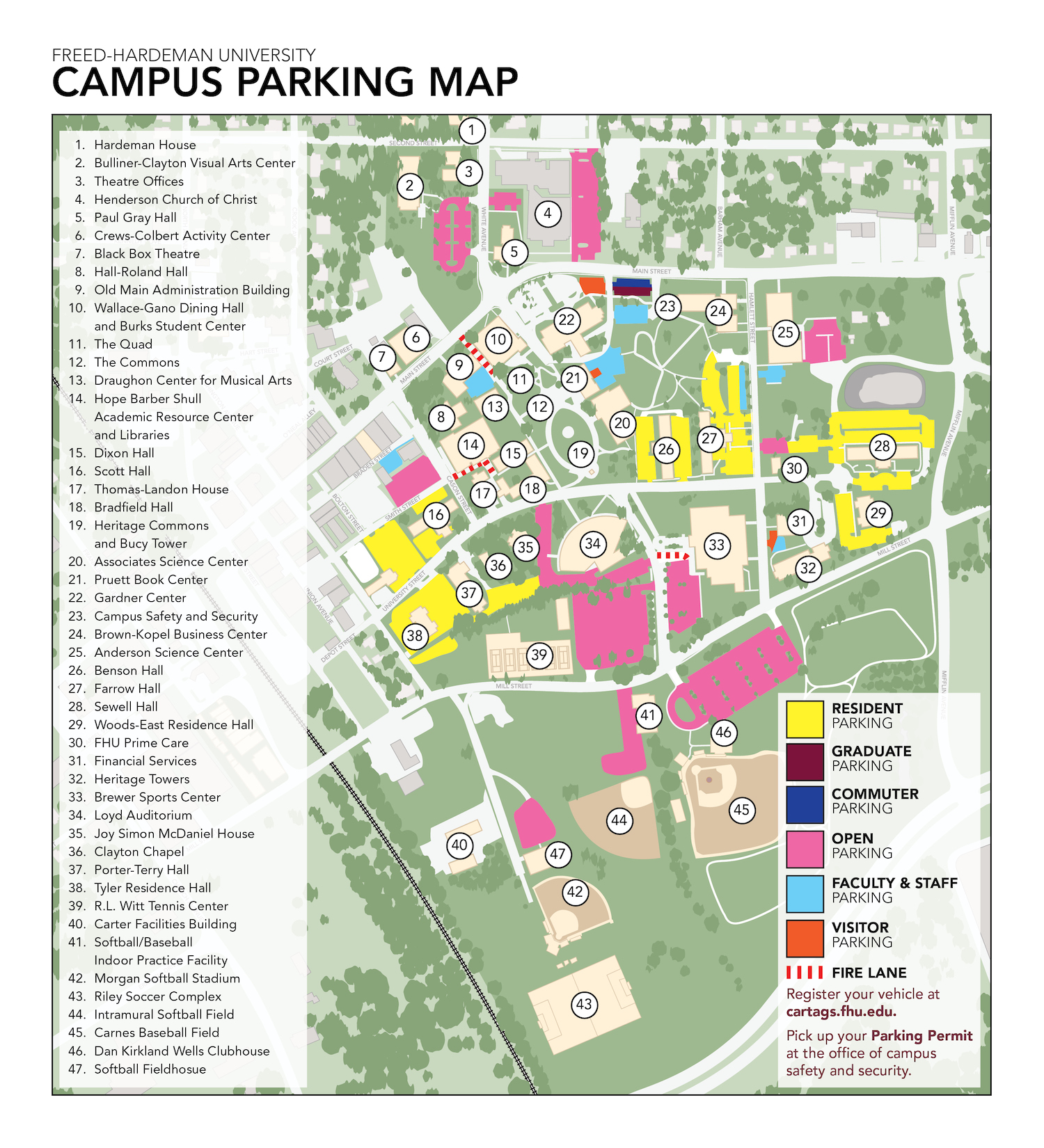 FHU Campus Parking Map 2019