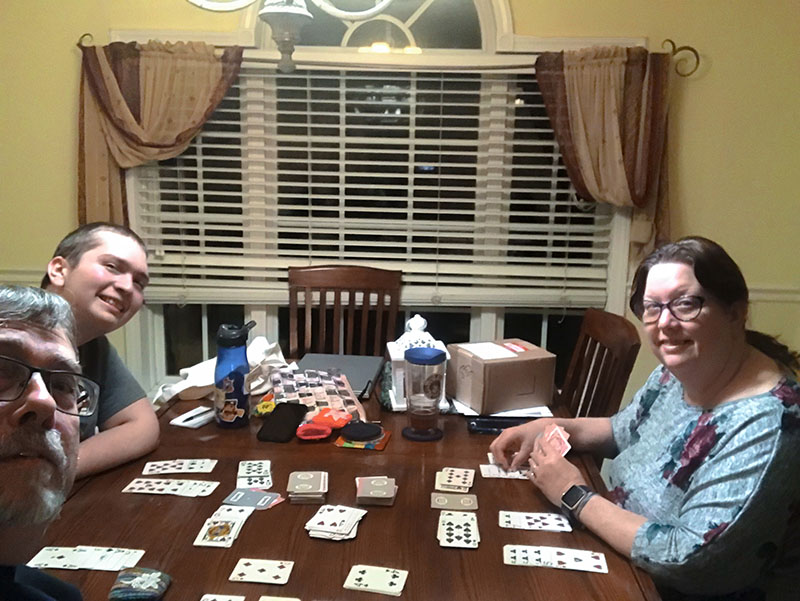 Losing to Jon Michael at cards…again